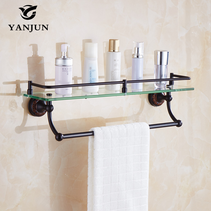 Yanjun Bathroom Accessories Antique Black Finish With Tempered Glass  Bathroom Shelf Bathroom Towel Rack YJ-