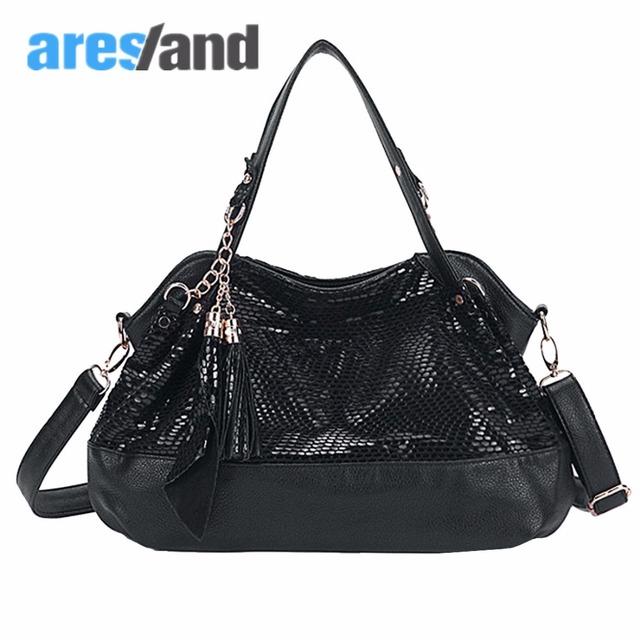 Aresland elegante das mulheres de alta qualidade da pele de serpente padrão pu leather tote bolsa bolsa de ombro