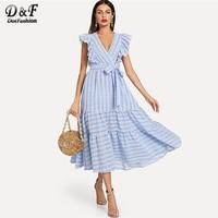Dotfashion Blue Butterfly Sleeve Knot Belted Ruffle Trim Tired Striped Wrap Dress Women Casual Summer V Neck High Waist Dress