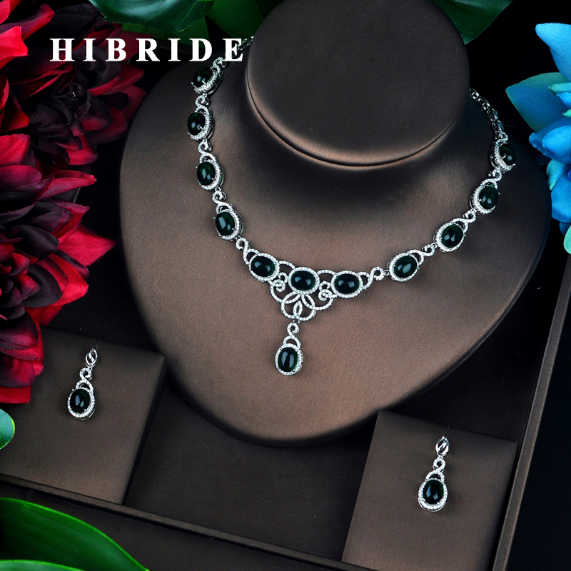HIBRIDE New Green Rhinestone Round Design Bridal Jewelry Set Necklace Set Wedding Accessories Wholesale Price N