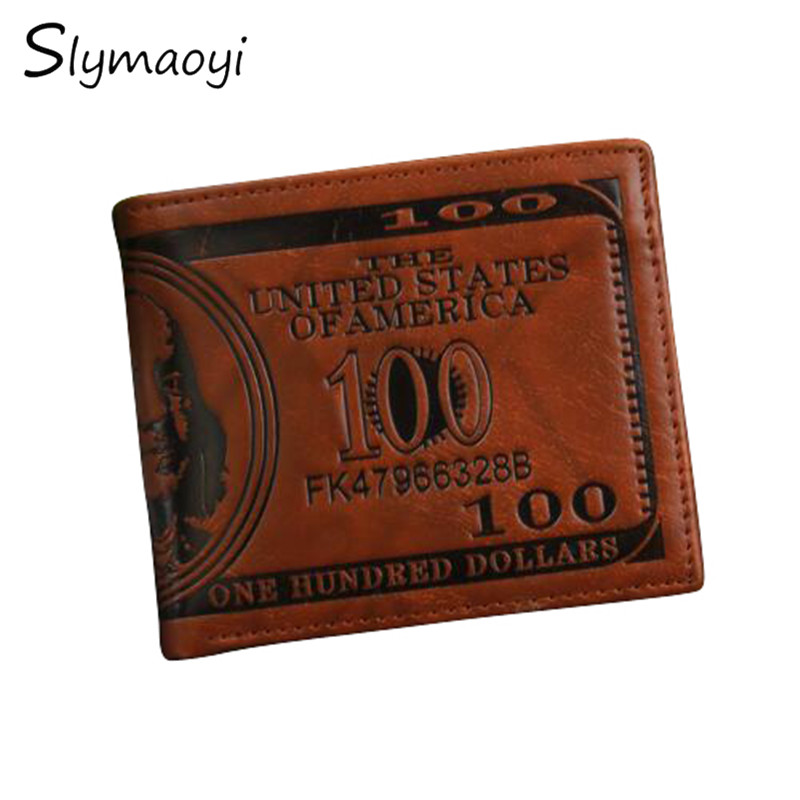 New 2016 Fashion Sale Dollar Price Pattern Designer Men's Wallets Casual Credit Card Holder Purse Wallet for Men Free Shipping
