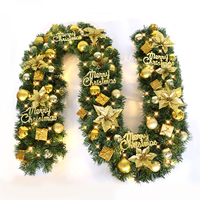 2017 New Green Christmas Garland Wreath Xmas Home Party Christmas Decoration Pine Tree Rattan Hanging Ornaments