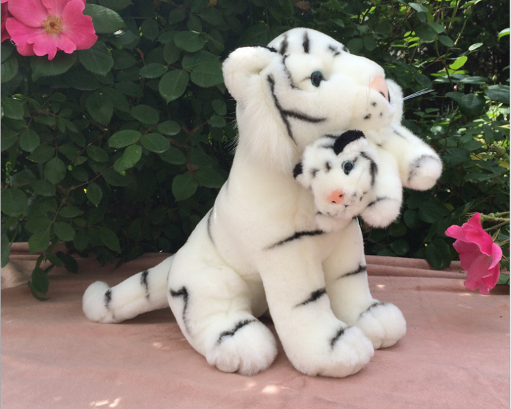 cute plush white high quality tiger toy stuffed simulation tiger doll with a baby gift about 30cm stuffed animal 120cm simulation giraffe plush toy doll high quality gift present w1161