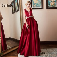 2018 Elegant V neck Open Back Satin Prom Dress 2018 Evening Dresses Vestido De Festa Fast Party Formal Dress Long Evening Gown