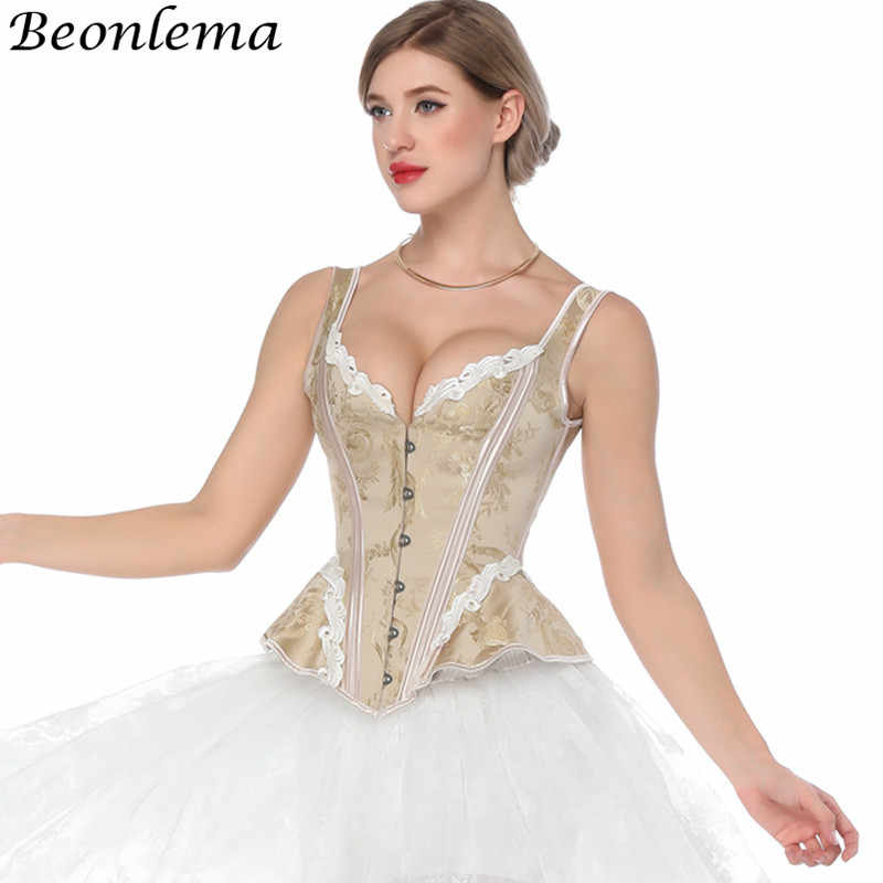 ab2613b24e Beonelma Steampunk Corset Vintage Back Tight Lacing Up Overbust Bustiers  and Corset Sexy Women Tummy Slimming