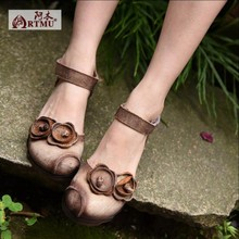2016 new original design handmade vintage genuine leather women sandals female flower hasp low heels women shoes