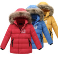 Boys Down Warm Jacket With Fur Baby Boy Girl Solid Overcoat Hooded Jacket Children's Winter Jackets Fashion Down Coat Clothes