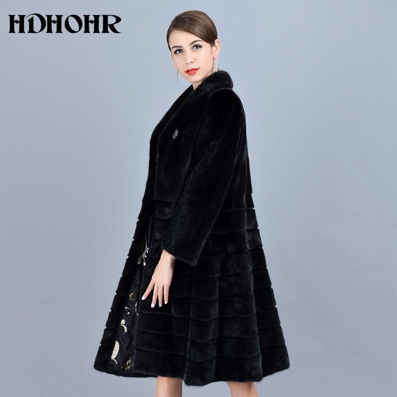 HDHOHR 2018 Mode Naturel Vison manteaux de fourrure Femmes bonne qualité Noir Véritable De Fourrure Parkas Chaud Hiver Long Réel Vison Veste Femme