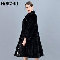 HDHOHR 2018 Fashion Natural Mink Fur Coats Women Good Quality Black Genuine Fur Parkas Warm Winter Long Real Mink Jacket Female