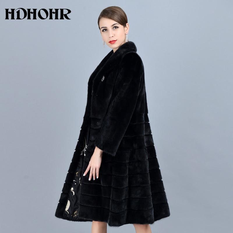 HDHOHR 2018 Mode Naturel De Fourrure De Vison Manteaux Femmes de Bonne Qualité Noir Véritable De Fourrure Parkas Chaud Hiver Long Réel Vison Veste femelle