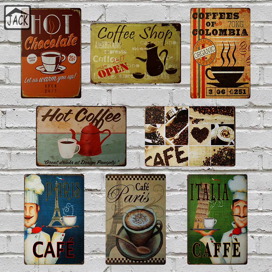 Italia paris hot coffe painting 8x12inch vintage poster for Plaque deco cuisine retro