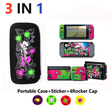 3 in 1 Nintend Switch Accessories Travel Carrying Splatoon2 bag & Glass Film Sticker for Nintendo Caps NS shell