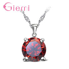 Gorgeous Austria Crystal Stone Pendant Necklace Wedding Jewelry for WomenAuthentic 925 Sterling Silver Chain Female Gifts(China)