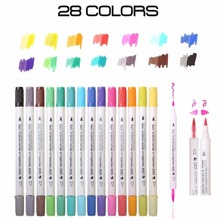 14pcs Dual Tip Watercolor Brush Markers Art Marker Set Water Soluble Double Color Marker Calligraphy Pen For Design Manga Comic