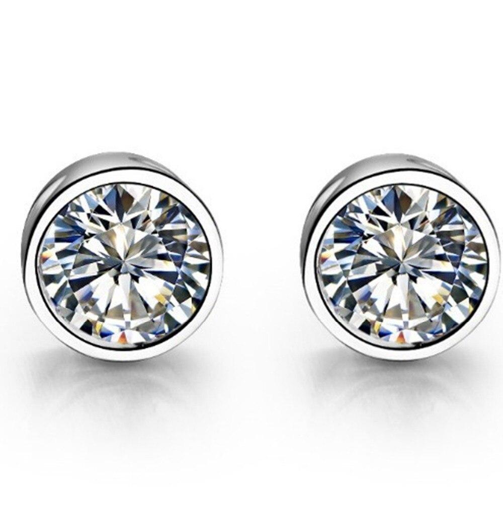 Stud-Earrings Solitaire Diamond Wedding-Jewelry Gold White Solid-18k Luxury Round Women