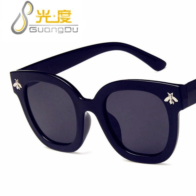 GUANGDU New Fashion Bee Square Sunglasses Women Men UV400 Brand Designer Retro Vintage Sun Glasses Shades Oculos De Sol Feminino