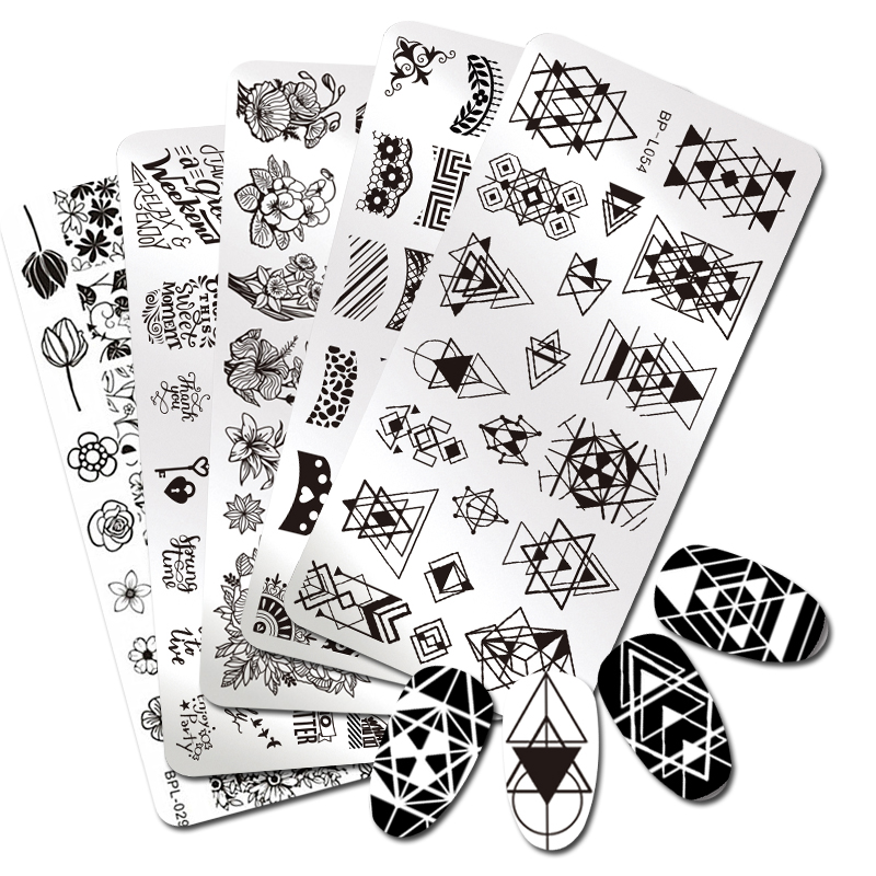 Geometric Reverse Stamping Nail Art Born Pretty Review: BORN PRETTY 5Pcs Rectangle Stamping Plate Geometry Rose