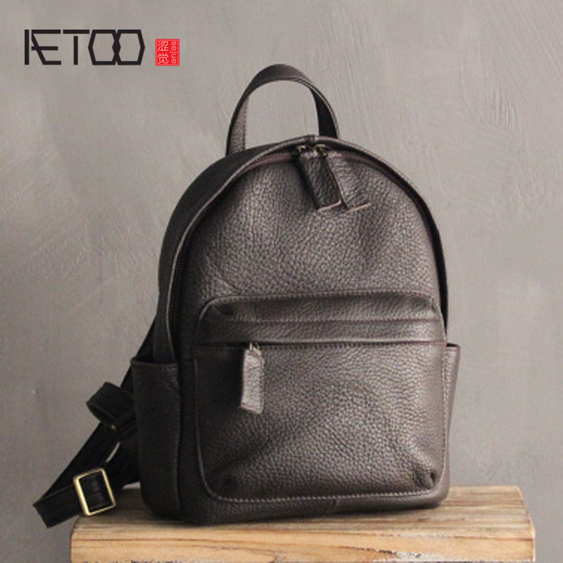 AETOO Leather shoulder bag female 2017 new first layer of leather Korean simple personality tide female college wind soft leathe aetoo leather mini shoulder bag female small backpack head layer of leather casual 2017 new korean version of the wild tide pack