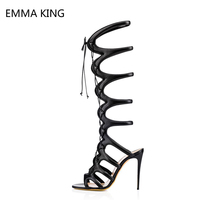 Black Gladiator Sandals Women Suede Open Toe Leopard Cut Out Lace Up Ladies Sandals Sexy Stiletto Knee High Heel Long Boots