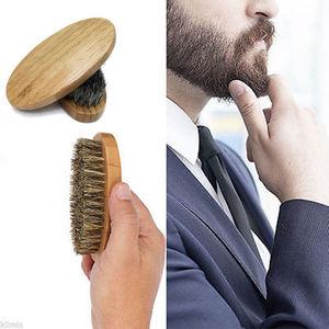 Image 2 - 1PC Men Natural Boar Bristle Beard Mustache Brush Military Wood Handle Comb Newest