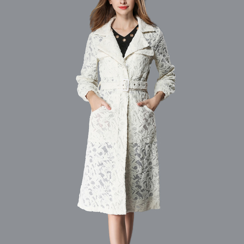 2018 Autumn And Winter New Lace Lapel Coat Long-sleeved Jacket European And American Fashion Temperament Windbreaker