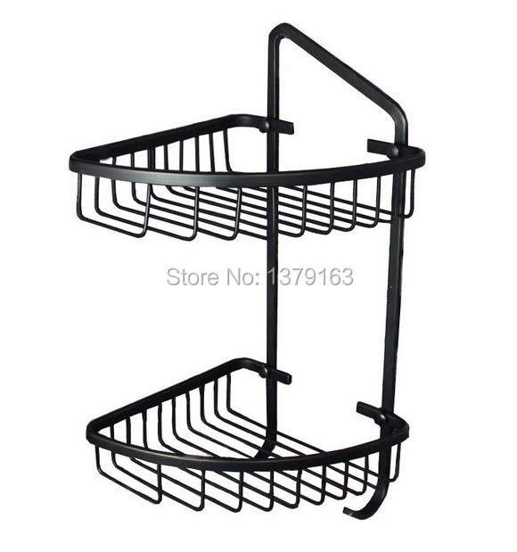 ФОТО Oil Rubbed Bronze Wall Mounted Large Corner Shower Storage Basket and Robe Hook aba108