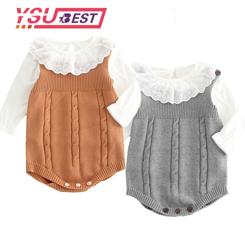 2019 High Quality Baby Boy Knit   Romper   Girls Cute Crochet   Rompers   Toddler Brand Spring Suspender Infant Lovely Knitting   Romper