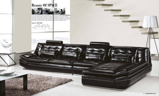 Luxury Italian Top Grain Leather 3 7m Length L Shaped Sofa Set And