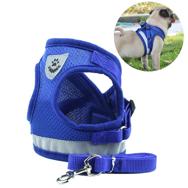 Nylon Mesh Puppy Pet Harness & Leash Set Reflective