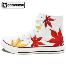Original Design Maple Leaf Hand Painted Shoes Converse Men Women High Top Canvas Sneaker Personalized Gifts for Man Woman
