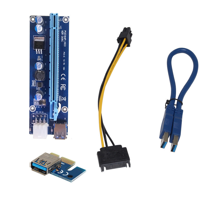 60CM PCI Express PCI-E 1X to 16X Riser Card Extender PCIE Adapter + USB 3.0 Cable & 15Pin SATA to 4Pin IDE Power Cord GHMY 6 pack pcie riser pci e 16x 8x 4x 1x powered adapter card 60cm usb 3 0 extension cable and 6 pin to 15 pin sata