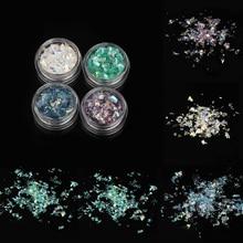 4pcs/Set Fashion Fluorescent Nail Glitter Colorful Sequins Flakes Cellophane Paper Paillette DIY Manicure Decor