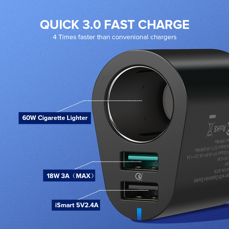 Image 2 - Ugreen Car Charger Adapter 60W Dual USB Quick 3.0 Charge USB Charger for iPhone X 8 Samsung Galaxy S9 S8 LG V20 USB Car Chargercharger for iphonecharger forcharger charger -