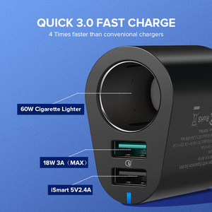 Image 2 - Ugreen Car Charger Adapter 60W Dual USB Quick 3.0 Charge USB Charger for iPhone X 8 Samsung Galaxy S9 S8 LG V20 USB Car Charger