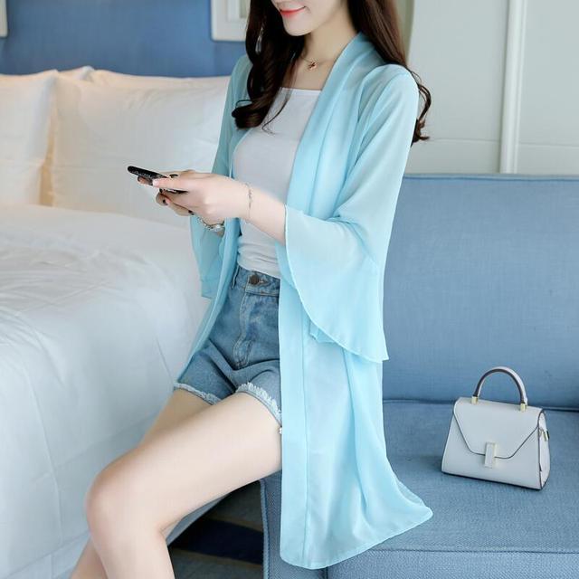 75fa0fcdf97 US $15.0 50% OFF|Beautiful Flare Ruffles Long Sleeve Office Wear Women  Summer Chiffon Blouses Shirts Lady Girls Casual Tops Shirts Blusas XL-in ...