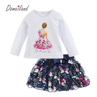 2017 Fashion Spring New Brand Domeiland Outfits Baby Clothes Girls Sets Rhinestone Princess Long Sleeve Shirts