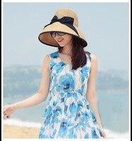 COLORIDO MARCA de Alta Qualtiy Moda Feminina Verão Arco Decoração Chapéu de Palha Chapéu de Sol Grande Anti-UV chapéu de Praia Dobrável