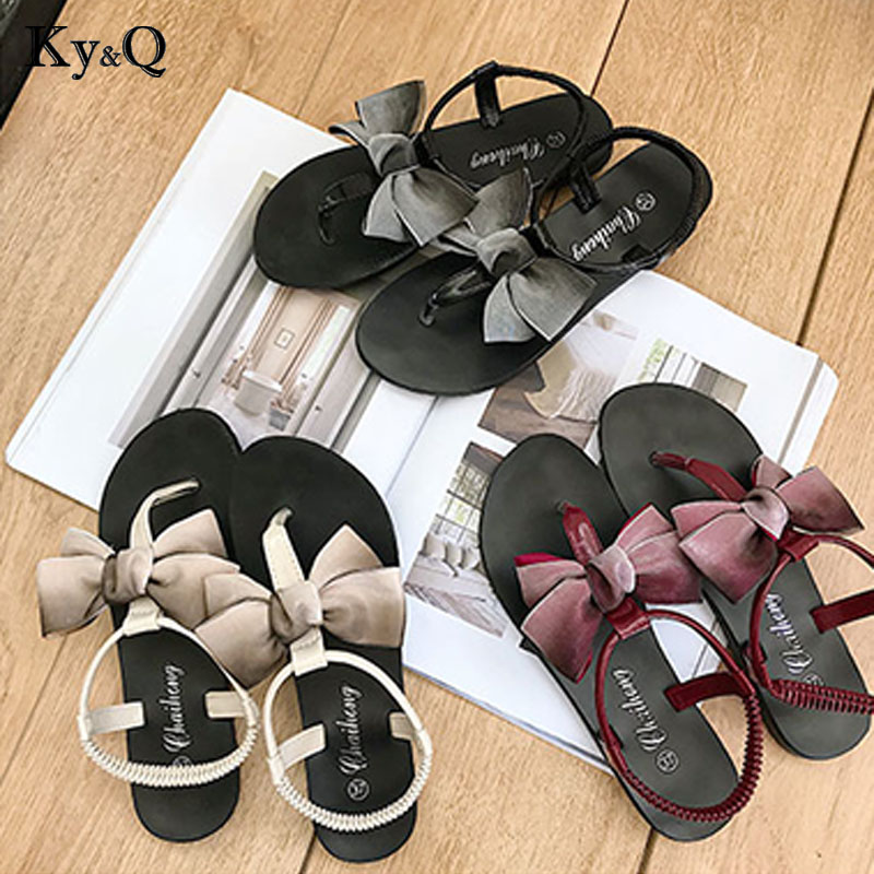 34953470c78b6 US $13.63 22% OFF|Aliexpress.com : Buy Promotion Sale Women Fashion Solid  Color Bow tie Flat Heel Sandals Size 35 39 Outdoor Slipper Beach Shoes For  ...