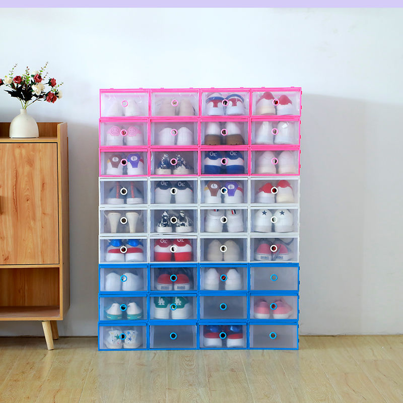 6Pc/Set Creative Foldable Drawer Storage Boxes Combination Transparent Portable Environmental Multi-Purpose Dust-Proof Shoes Box(China)