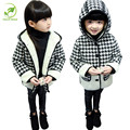 Children's Winter Coat Girl  Velvet Striped Long - Sleeved Plaid Coat for Korean Style Fashion Girl