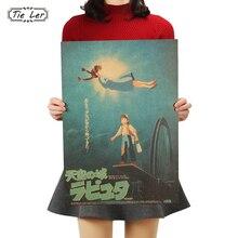 TIE LER Laputa Castle In The Sky Anime Kraft Paper Poster Retro Vintage Bar Decorative Painting Wall Sticker 51x36cm