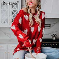 Ins chaud rouge coeur chandails femmes été tricoté pulls minces décontracté printemps automne surdimensionné Pull hauts Pull Femme tricots