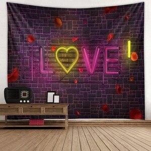 Image 5 - 웨딩 장식 태피스트리 벽 패브릭 히피 보홀 러브 로즈 태피스트리 벽 교수형 발렌타인 데이 선물 기숙사 매트리스 벽 카펫