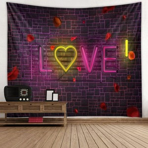 Image 5 - Wedding Decor Tapestry Wall Fabric Hippie Boho Love Rose Tapestry Wall Hanging Valentines Day Gift Dorm Mattress Wall Carpet