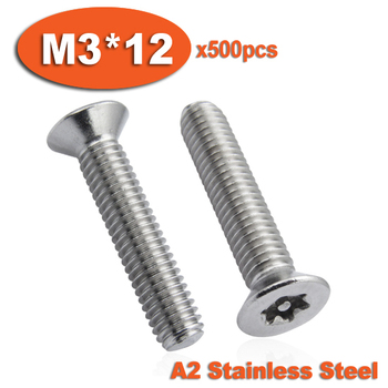 500pcs DIN7991 M3 x 12 A2 Stainless Steel Torx Flat Countersunk Head Tamper Proof Security Screw Screws фото