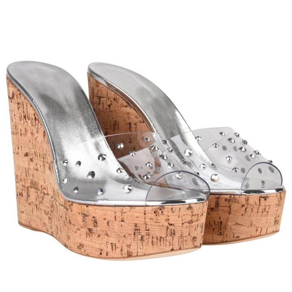 Slip Compensées D'été Plate Transparent En Liège Femmes Confortable Ciel Mules Talons Chaussures Sandales Pvc Porter Hauts forme Gros Haute À Sur R34Aqj5L