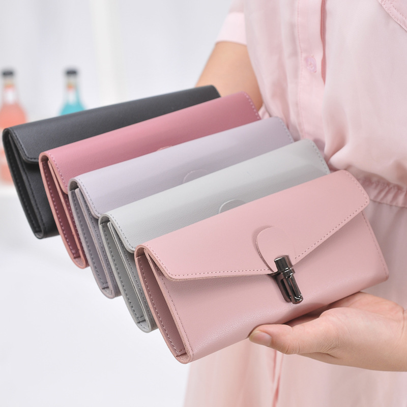 Women Long Wallet Slim Lock Personality Girls Clutch Purse Money Coin Card Holders Wallets Carteras Trifold Multi-card Pocket