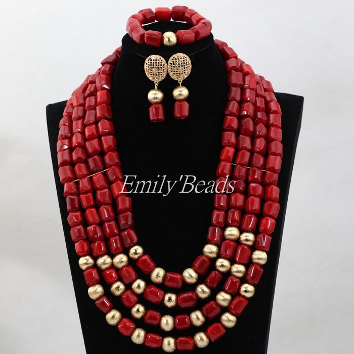 Free Shipping African Red Coral Beads Necklaces Earrings Bracelet Set 24inches Nigerian Wedding Bridal Necklace Set CJ711Free Shipping African Red Coral Beads Necklaces Earrings Bracelet Set 24inches Nigerian Wedding Bridal Necklace Set CJ711