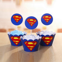 superman cake topper birthday party decorations baby kids the avengers superhero cake decorating supplies cup cake wrappers(China)