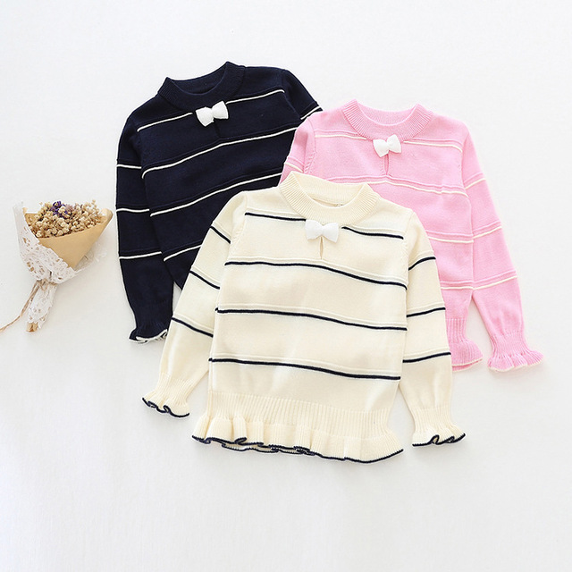 2016 осень-весна девушки свитер дети девушка о-образным вырезом с длинным рукавом в полоску лук кардиган детская одежда розовый темно-синий бежевый 2-6 Т